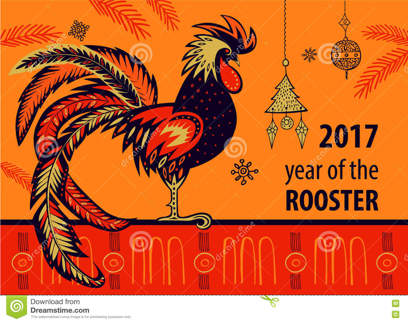 chinese-new-year-rooster-vector-illustration-x-xmas-tree-hand-drawn-silhouette-white-red-73112760